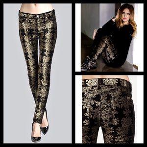 7FAM Black Gold velvet metallic skinny jeans
